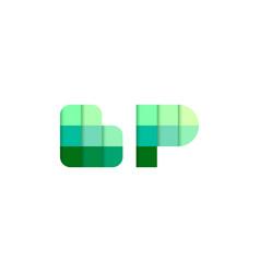initial letters bp b p pixel brick logo design vector image