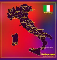 Italy map with italian regions vector