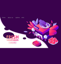 landing page template with isometric grocery vector image