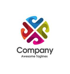 letter p color logo concept vector image