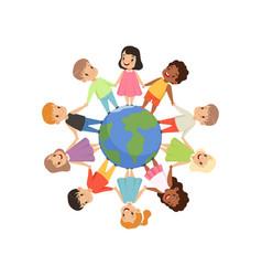 little kids different nationalities standing vector image