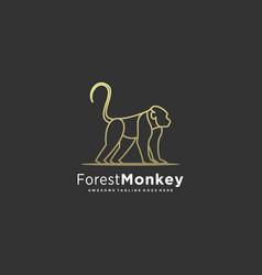 Logo forest monkey line art vector