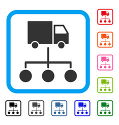 Lorry distribution scheme framed icon vector