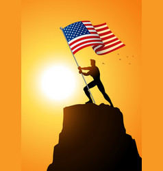 Man holding the flag of the united states vector