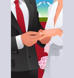 man putting wedding ring vector image