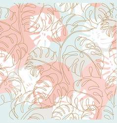 minimal tropical art tropical monstera leaves vector image