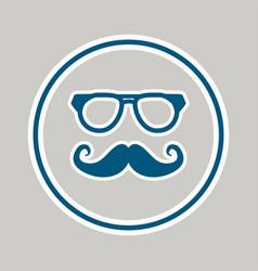 mustache and glasses blue icon design vector image