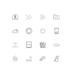 nature linear thin icons set outlined simple icons vector image