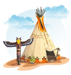 North American Indian tipi home with totem vector image