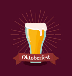 oktoberfest label with beer glass vector image