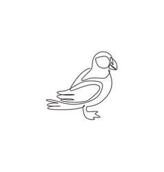 one continuous line drawing cute puffin vector image
