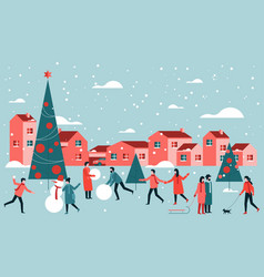 outdoor christmas activities vector image