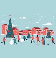 outdoor christmas activities vector image