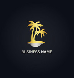 Palm tree ocean beach logo vector