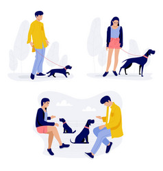 people walking with dogs men and women vector image