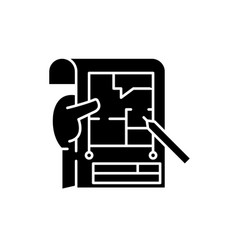 planning black icon sign on isolated vector image