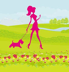 Pretty girl silhouette walking with her dog on vector image