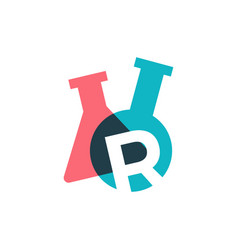 R letter lab laboratory glassware beaker logo icon vector