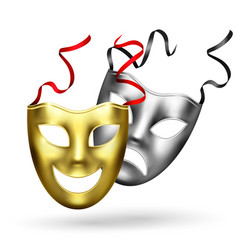 realistic golden masks composition vector image