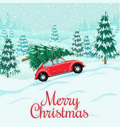 Red auto with christmas tree on roof delivery vector