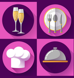 Restaurant icons set flat style cooking and vector