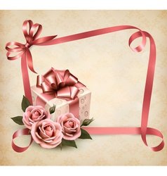 Retro holiday background with pink roses and gift vector