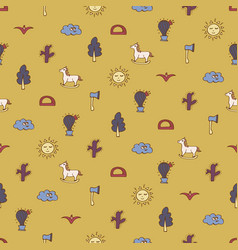 Sand seamless pattern with horses cactuses trees vector