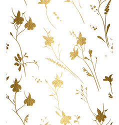Seamless gold floral pattern on a white background vector