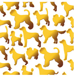 seamless pattern with cute cartoon gold dog vector image
