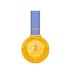second place golden medal with blue ribbon vector image
