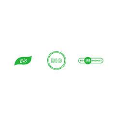 set bio 100 percent product handwritten green vector image