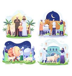 Set bundle happy muslim family celebrates eid vector