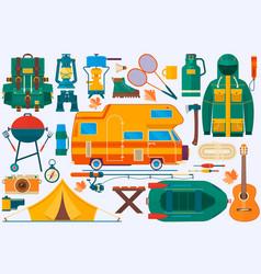 Set equipment for travel recreation adventure vector