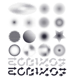 Set of abstract halftone and arrows elements of vector