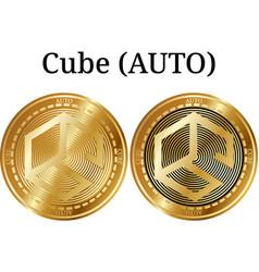 Set of physical golden coin cube auto vector