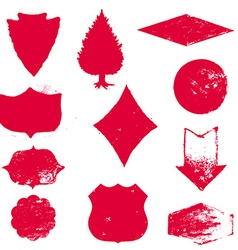 set stamps red stamps grunge rubber texture vector image