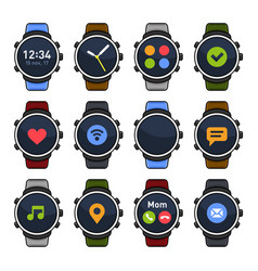 Smart watch with different apps on screen icons vector