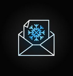 snowflake envelope modern outline icon vector image