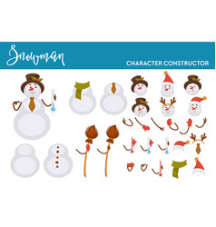 snowman christmas character constructor body parts vector image