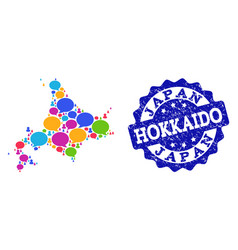 Social network map of japanese hokkaido with talk vector