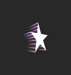 star logo with motion elements in patriotic vector image