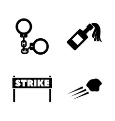strike simple related icons vector image