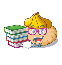 Student with book ice cream biscuit on wafers vector