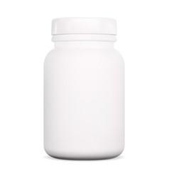 Tablet bottle vitamin supplement plastic pill jar vector