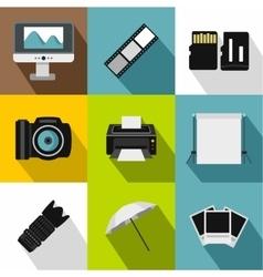 Taking photo icons set flat style vector image