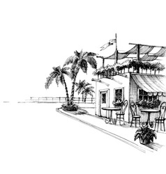 Traditional restaurant sea shore sketch vector