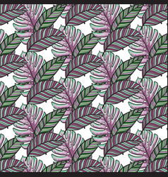 Tropical leaves seamless pattern hand vector