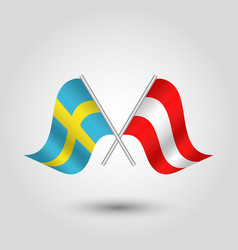 Two crossed swedish and austrian flags vector