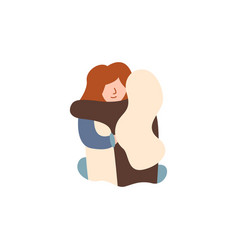 Two friends met hugging blonde red-haired girl vector