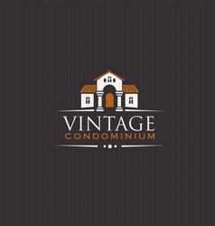 Vintage upscale condominium creative emblem vector